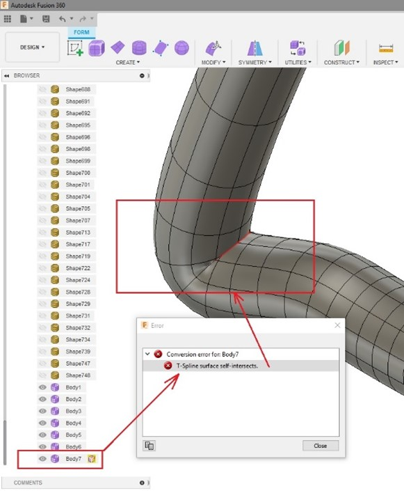 fix conversion error in fusion 360